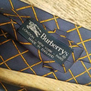 Burberry 100% Silk Blue and Bamboo Checks Tie